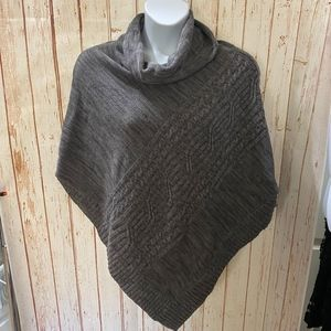Sonoma Grey Cable Knit Cowl Neck Poncho